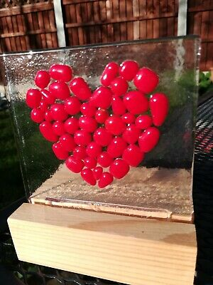 Fused Glass Cabochon Heart - Red. Send A Message Of Love Snd Support By Post. • 7£