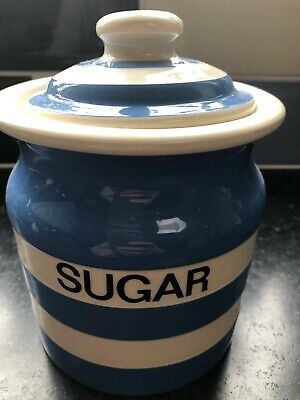 T G Green Cloverleaf Traditional Cornishware Blue &  White Sugar Storage Jar • 10£