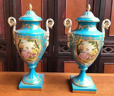 Fine Pair Sèvres Style Romantic Aristocrat Dome Topped Porcelain Urns • 895£