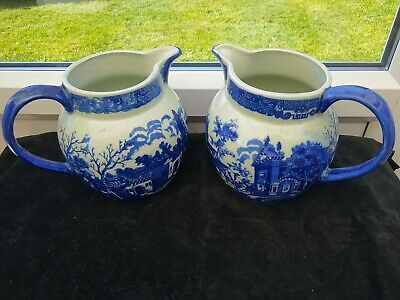 Vintage Pair Of Victoria Ware Ironstone Large Blue And White Jugs Pitchers VGC • 12.20£