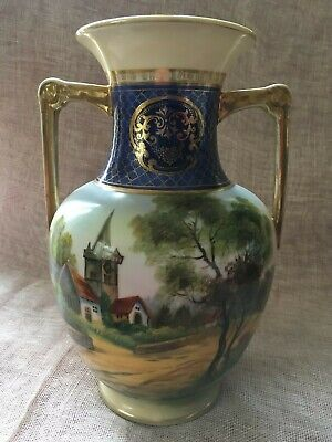 Beautiful NORITAKE Two Handled Vase With Church Scene Made In Japan 1908+ 21.5cm • 21.99£