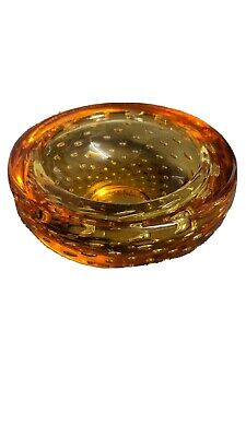 Whitefriars 1950s Controlled Bubble Amber Glass Bowl • 13.99£