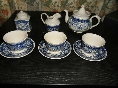 Masons Ironstone Blue & WhiteTea Set Made In England For Crabtree &Evelyn Lond  • 55£