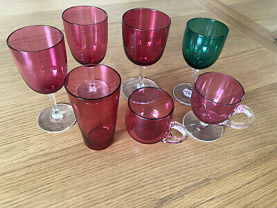 A Selection Of 6 Cranberry Glasses & 1 Green Glass In Good Condition • 12£