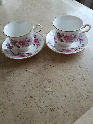 Queen Anne Fine Bone China Pink  Flowers With Gilt Trim 2 Cups And Saucers  • 3.99£