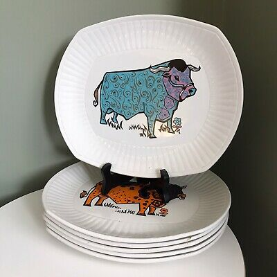 Complete Set Of 6 Beefeater Vintage Steak & Grill Plates English Ironstone Ltd • 75£