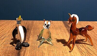 Vintage Murano Glass Animals - Penguin, Horse And Owl • 1.50£