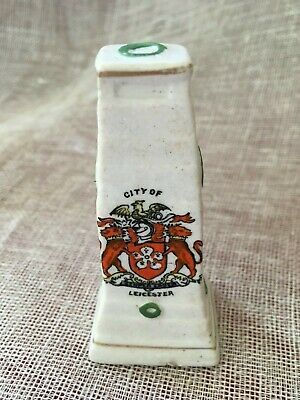 Crested China City Of Leicester With Coat Of Arms Cenotaph Shape 8cm Tall • 3.99£