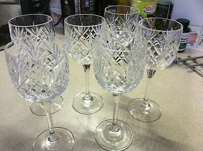 Set Of 6 Beautifully Cut Lead Crystal Small Wine Glasses • 12£