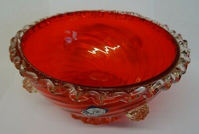 Vintage VENETIAN Murano Barovier Toso RED GLASS BOWL With GOLD FLECKS. • 19.99£