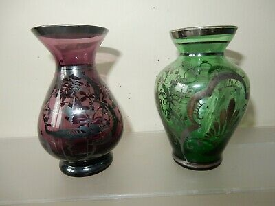 2 X Vintage Murano Glass Vases With 925 Silver Overlay • 7.99£