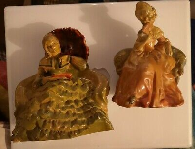 2 Vintage Cellulose Figurines~Early Wade 1947 & Sylvia Ware. Pompadour & Romance • 15£