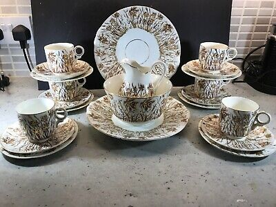 Vintage Rd 77128 Tea Set For 6 Gold Daffodils On A Cream Background 1932 • 29.99£