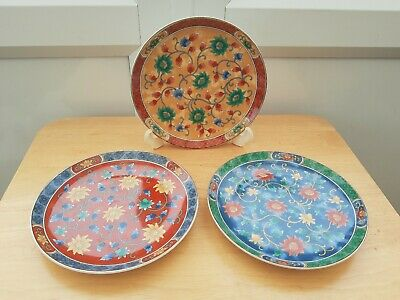 Colourful Trio Of Small Oriental Pretty Floral Side Plates Red Orange Blue X3 • 2.50£