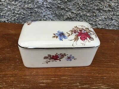Royal Winton Grimwades Trinket Box Red Rose And Flowers 1950,s • 2.95£