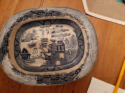 Old Willow Pattern Serving Dish/meatplate • 3£