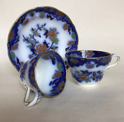 Antique Copeland & Garrett Flow Blue Polychrome 20-piece Tea Set - 6 True Trios • 450£