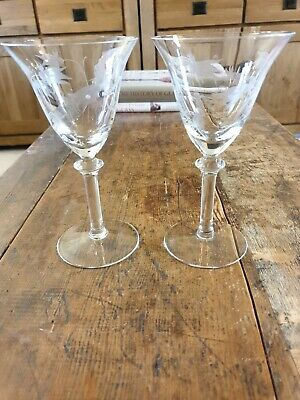 Matching Pair Of Art Nouveau Etched Large Heavy Wine Glasses  • 13£