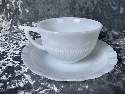 Vintage Depression Era 1930's Milk Glass Scalloped Cup And Saucer Opaque X10  • 49.99£