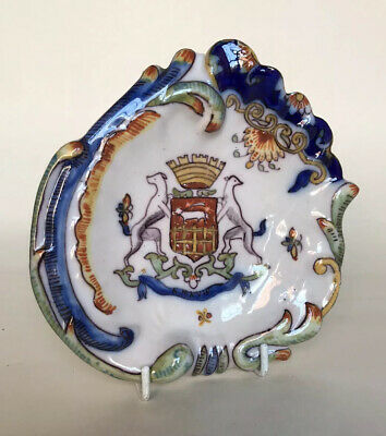 Antique Saint Malo French Faience Armorial Dish • 25£