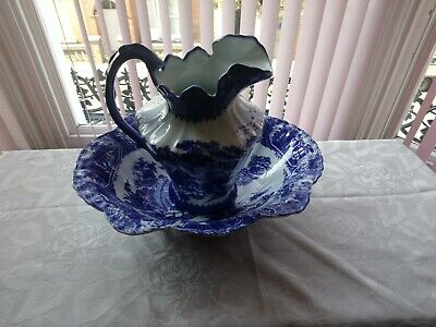 Victory Ware Ironstone Blue And White Jug And Bowl  • 35£
