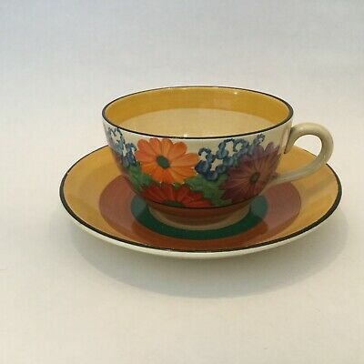 Bizarre By Clarice Cliff Gay Day Hand Painted Globe Shape Cup And Saucer C. 1930 • 120£