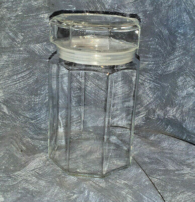 Arcoroc France Octime Glass Canister Octagon Food Storage Retro VGC MCM Set 1 • 29.50£