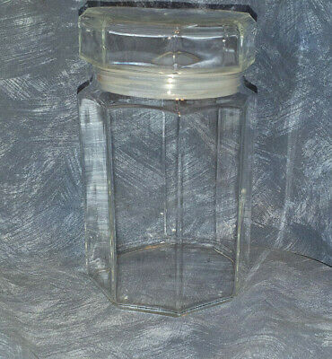 Arcoroc France Octime Glass Canister Octagon Food Storage Retro VGC MCM Set 2 • 29.50£