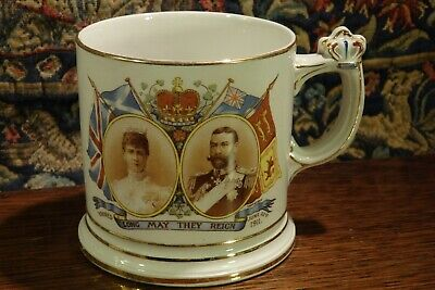 An Antique 1911 Commemorative Mug With An Unusual Crown Handle • 14.50£