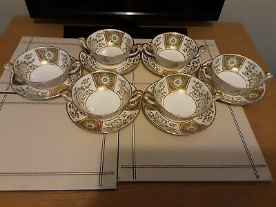 ROYAL CROWN DERBY  GREEN DERBY PANEL 6 X  SOUP COUPES & 6 UNDERPLATES 1st QTY  • 139.95£