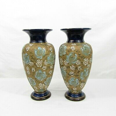 A Pair Of Victorian Royal Doulton Lambeth Slater Vases C1886-1896 • 235£