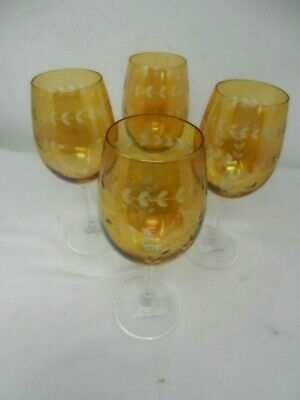 IRIDESCENT & ENGRAVED 4 Vintage Yellow Colour Large Drinking Glasses(F5) • 5£
