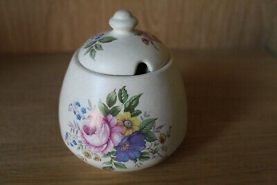 Axe Vale Pottery Mustard Pot Earthenware Condiment Jar Pink Roses & Blue Flowers • 9.99£