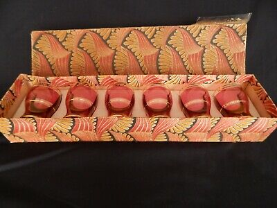 Boxed Set Of 6 Vintage Retro Cranberry Glass With Gold Banding Shot Glasses • 4£