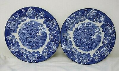 Pair Of Vintage Woods Ware 'Enoch Wood's English Scenery' Blue & White Plates D2 • 5£