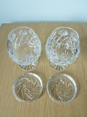 2 Lead Crystal Cut Brandy Glasses Plus Coasters Very Good Condition • 3.99£