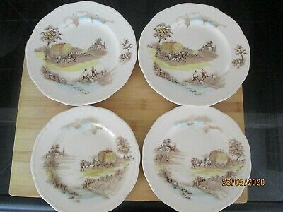 4 X Vintage Alfred Meakin The Ride Home Tea & Side Plates • 5.95£