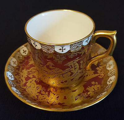 Rare Royal Crown Derby Paradise Maroon Demitasse Cup & Saucer - Discontinued  • 45£