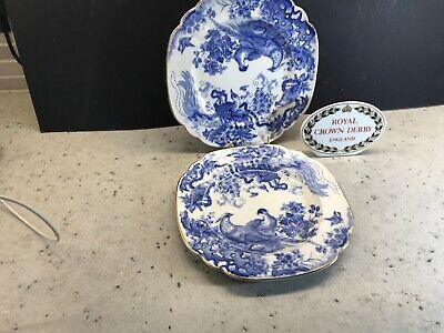 Royal Crown Derby Blue Aves Pair Of Side Plates 18 Cm Diam  • 19.99£