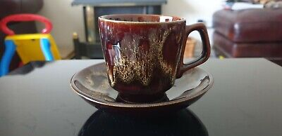 Fosters Cup And Saucer Brown / Honeycomb • 3.99£