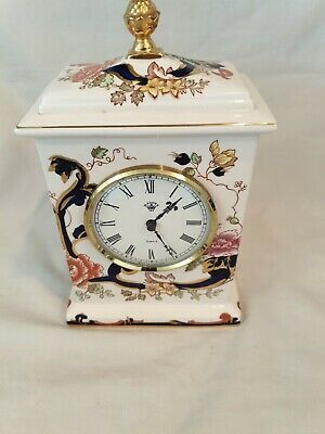 Vintage Carriage Clock Mason's Mandalay Red Ironstone Table Fireplace • 9.50£