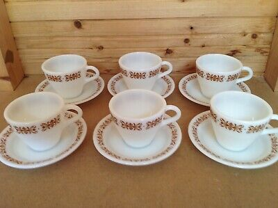 Pyrex By Corning Copper Filigree Cups & Saucers X 6 • 10.99£
