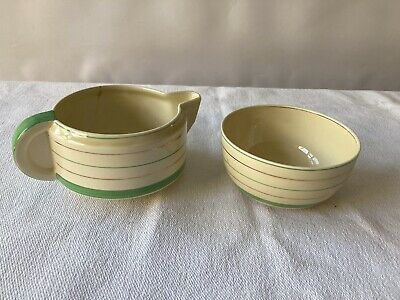 Clarice Cliff Wilkinson Ltd Jug And Bowl With Green And Gilded Banding • 9.99£