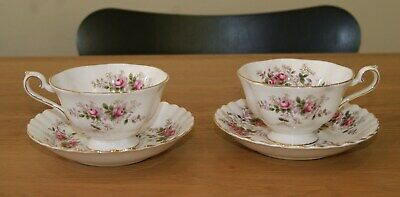 Pair Royal Albert Bone China Lavender Rose Avon Shape Cups And Saucers • 30£