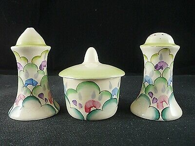 CLARICE CLIFF Beautiful CLOUD FLOWERS Art Deco Condiment Set A/f • 25£