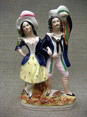 Antique Staffordshire Flatback Figurine Looks To Be A Courting Or Married Couple • 20£