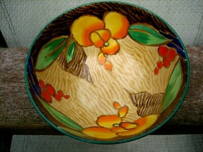 An Art Deco Vibrantly Coloured Hand Painted Bowl Losol Ware Keeling & Co No 6600 • 40£