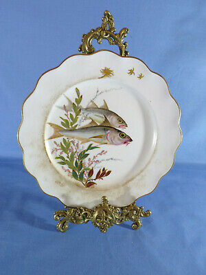 Doulton Burslem Early 20th Century Hand-Painted Fish Pattern Cabinet Plate #1 • 55£