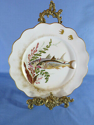 Doulton Burslem Early 20th Century Hand-Painted Fish Pattern Cabinet Plate #2 • 55£