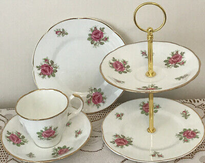 Jason Vintage China Pink Roses Gold Rim  Small 2 Tier Cake Stand And Trio • 10£